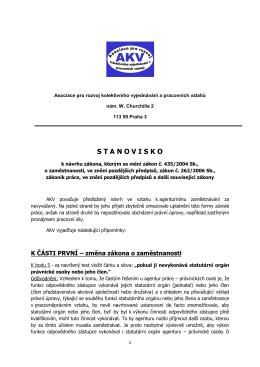 Znění STANOVISKA AKV k návrhu zákona, kterým se mění