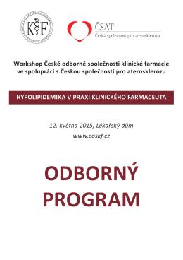 odborný program - Česká odborná společnost klinické farmacie ČLS