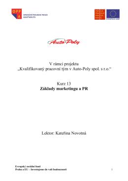 Kurz 13 – Základy marketingu a PR