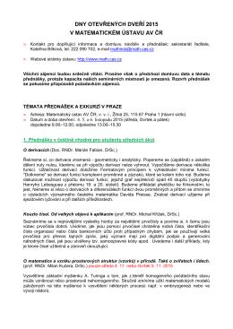 dny otevřených dveří 2015 v matematickém ústavu av čr