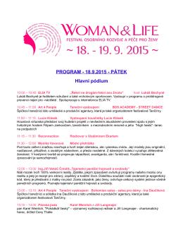 PROGRAM - 18.9.2015 - PÁTEK Hlavní pódium