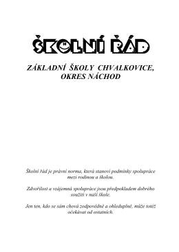 ŠKOLNÍ ŘÁD - ZŠ Chvalkovice