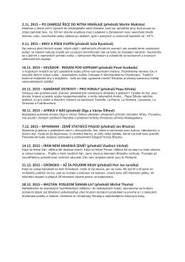 2.11. 2015 – PO ZAMRZLÉ ŘECE DO NITRA HIMÁLAJE (přednáší