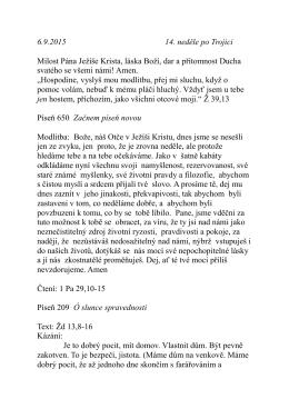 6.9. kázání P. Pokorného Vyjít za hradby Žd 13,8-16