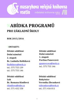 Nabídka pro základní školy ve školním roce 2015/2016