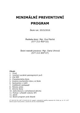 Minimální preventivní program na školní rok 2015