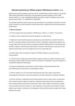 Obchodní podmínky pro affiliate program T&M Business