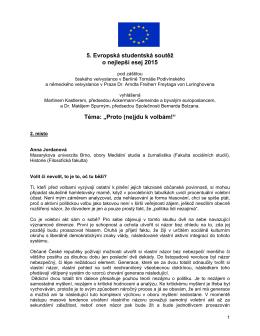 """5. Evropská studentská soutěž o nejlepší esej 2015 Téma: """"Proto"""