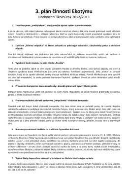 Hodnocení plánu činnosti Ekotýmu pro školní rok 2012/2013