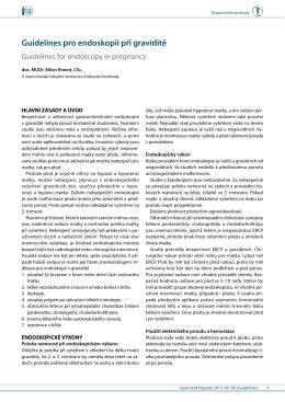 Guidelines pro endoskopii při graviditě