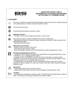 Návod k použití - aktivované zatavené baterie (SLA)