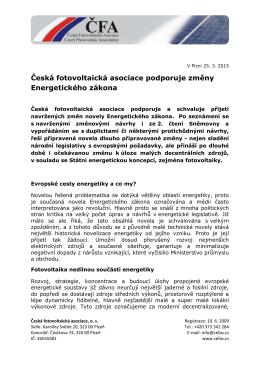 Tisková zpráva ke stažení zde. - Česká fotovoltaická asociace, o. s.