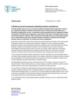 Tisková zpráva V Praze dne 14. 1. 2016 V ČR byla po více než roce