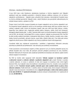 Informace - kanalizace ČOV Bratkovice V roce 2015 byla v obci