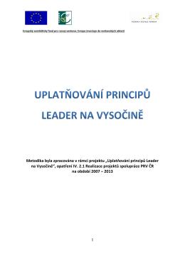 """Metodika byla zpracována v rámci projektu """"Uplatňování principů"""