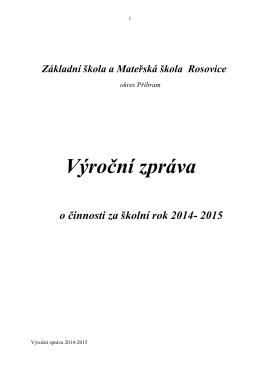 Výroční zpráva o činnosti za školní rok 2014