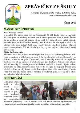 Únor 2015 - ZŠ a MŠ Rudná pod Pradědem