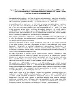 Společné stanovisko Ministerstva pro místní rozvoj a Úřadu pro