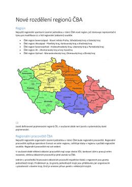 Nové rozdělení regionů ČBA