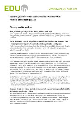 Souhrn zjištění – Audit vzdělávacího systému v ČR: Rizika a