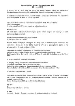 Zpráva MS Para Archery Donaueshingen GER 22.