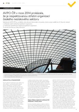 AVPO ČR v roce 2014 prokázala, že je respektovanou střešní