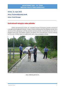 33.týden 2015 - Městská policie České Budějovice