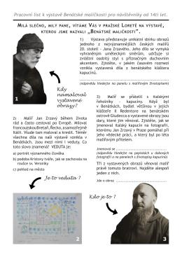Pracovní list k výstavě Benátské maličkosti pro