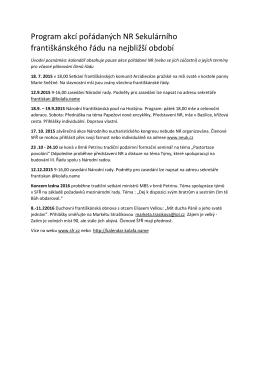 Program akcí pořádaných NR 2015-2016