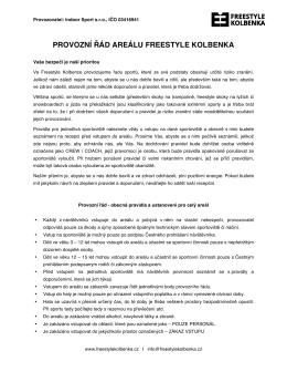 PROVOZNÍ ŘÁD AREÁLU FREESTYLE KOLBENKA