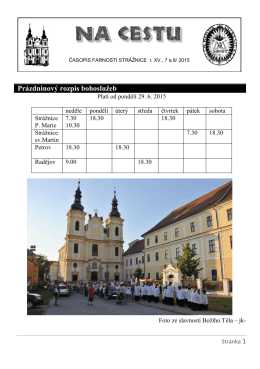 Prázdninový rozpis bohoslužeb - Římskokatolická farnost Strážnice