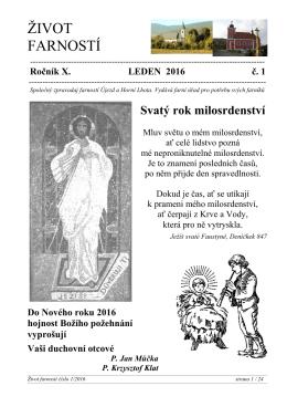 Život farností: 1/ 2016 - Farnost Újezd u Valašských Klobouk