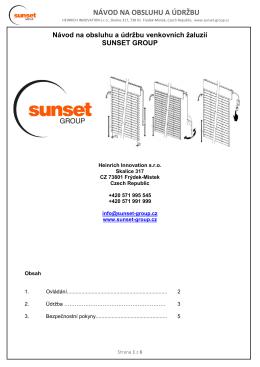 Návod na obsluhu a údržba - Sunset