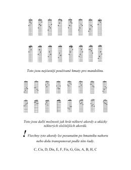 Toto jsou nejčastěji používané hmaty pro mandolínu. Toto jsou další