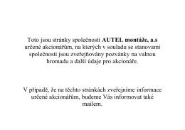 Toto jsou stránky společnosti AUTEL montáže, a.s určené