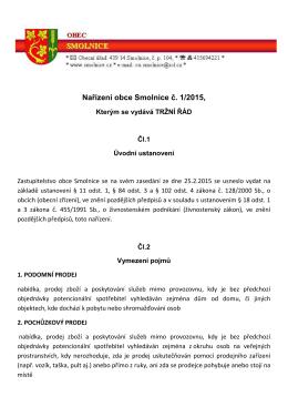 Nařízení obce Smolnice č. 1/2015,