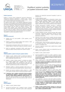 Doplňkové pojistné podmínky pro pojištění asistenčních