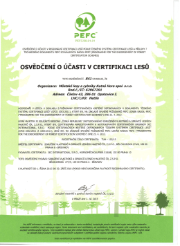 PEFC - Osvědčení o ůčastí v certifikaci lesů