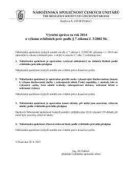 zpráva za rok 2014 - Náboženská společnost českých unitářů