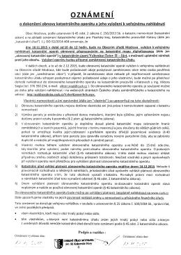 Oznámení o dokončení obnovy katastrálního operátu a jeho