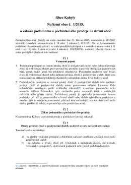 Nařízení 2015 - 1 zákaz podomního prodeje