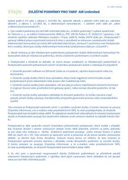 Zvláštní podmínky pro tarif Air Unlimited (platnost od 1. 10