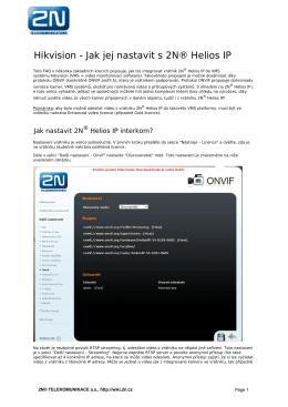 Hikvision - Jak jej nastavit s 2N® Helios IP