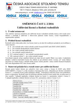 Směrnice ČAST č. 2/2016 - Udělování licencí a školení rozhodčích