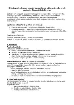 Kritéria pro hodnocení chování a pravidla pro udělování výchovných