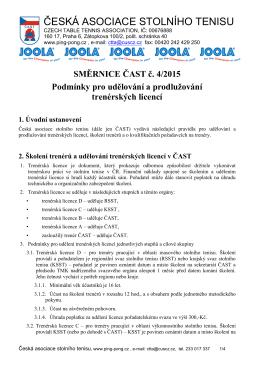 Směrnice ČAST č. 4/2015 podmínky pro udělování a prodlužování