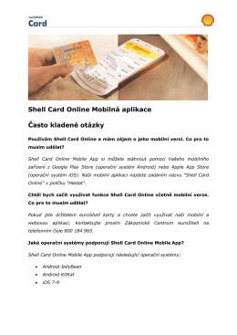 Shell Card Online Mobilná aplikace Často kladené otázky