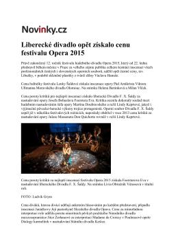 Liberecké divadlo opět získalo cenu festivalu Opera 2015