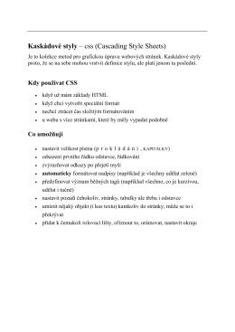 Kaskádové styly – css (Cascading Style Sheets)