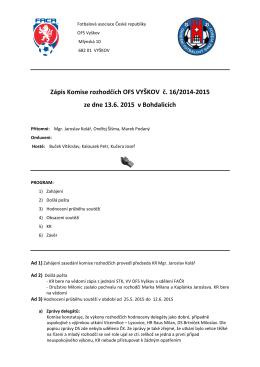 Zápis KR č.16 - Rozhodčí OFS Vyškov